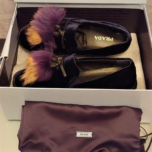 Prada Genuine Shearling Tassel Slip-On Sneaker